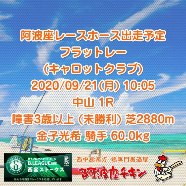 2020年09月21日 阿波座レースホース出走予定(フラットレー)