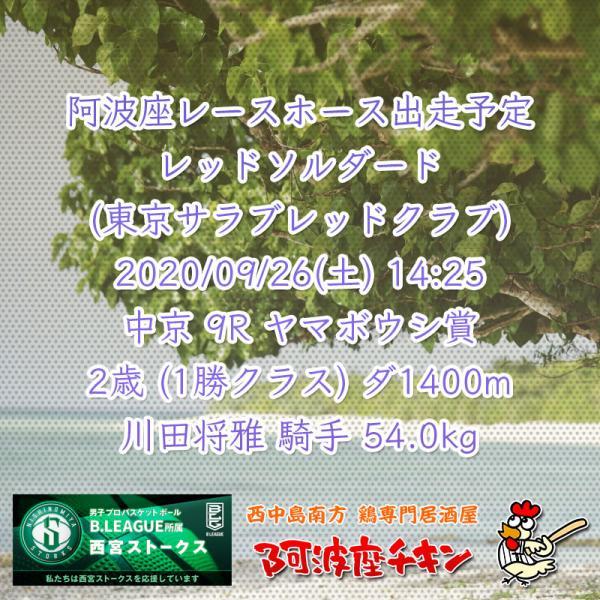 2020年09月26日 阿波座レースホース出走予定(レッドソルダード)