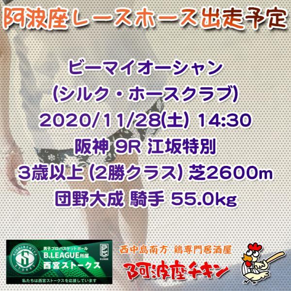 2020年11月28日 阿波座レースホース出走予定(ビーマイオーシャン)