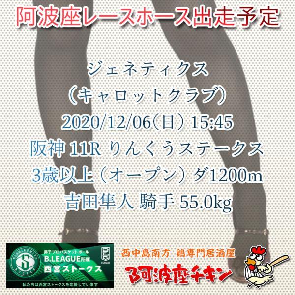 2020年12月06日 阿波座レースホース出走予定(ジェネティクス)